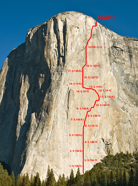 The line of Mescalito, El Capitan, Yosemite, Tim Kemple