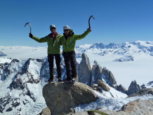 Adam Holzknecht and Hubert Moroder on the summit of Fitz Roy, November 2010, Gruppo Catores