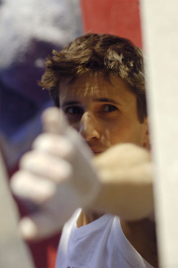 Kilian Fischhuber a Arco nel Sint Roc Boulder Contest 2006, Giulio Malfer