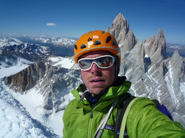 Colin Haley and the first solo ascent of Cerro Standhardt, Patagonia, via the route Exocet (500m, WI5, 5.9)., Colin Haley