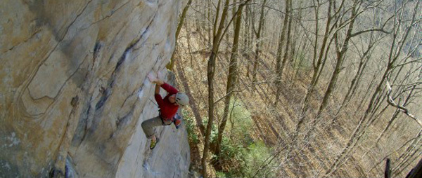 Pat Goodman during the first ascent of The Scavenger 5.13c, New River Gorge, USA, Chuck Fryberger