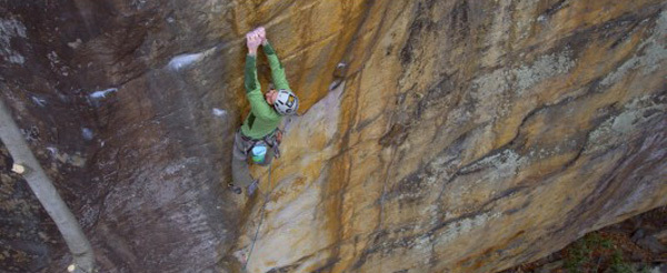 Matt Wilder during the first ascent of The Golden Bullet 5.13d, New River Gorge, USA, Chuck Fryberger