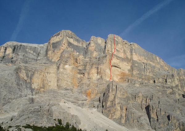 the route line of Quo Vadis, Sass dla Crusc, Dolomites, arch. N. Tondini