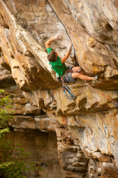Brett Perkins skipping the bolts and placing trad gear on Proper Soul 5.14a R/X at the New River Gorge, USA., Dan Brayack