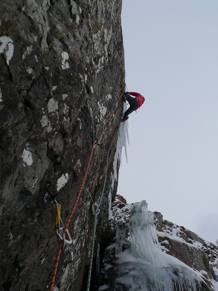 Pete Harrison during the first ascent of the hardest winter route in Wales, Are You Having it about the Woolly Mammoths XI 10 in the Llanberis Pass., Simon Frost