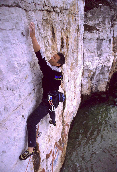 Manolo climbing at Rovigno in Croatia., Urban Golob