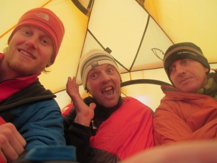 Cory Richards, Simone Moro and Denis Urubko at Base Camp of Gasherbrum II in winter, arch. S. Moro, D. Urubko