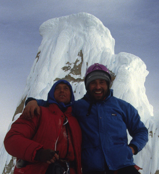 Francek Knez & Silvo Karo on the summit of Torre Egger, Patagonia, arch. Sivo Karo