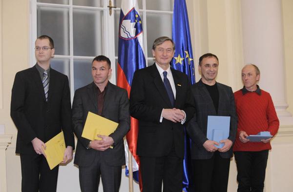 Silvo Karo & Francek Knez and the Slovenian President Dr. Danilo Tuerk, Bor Slana-Bobo