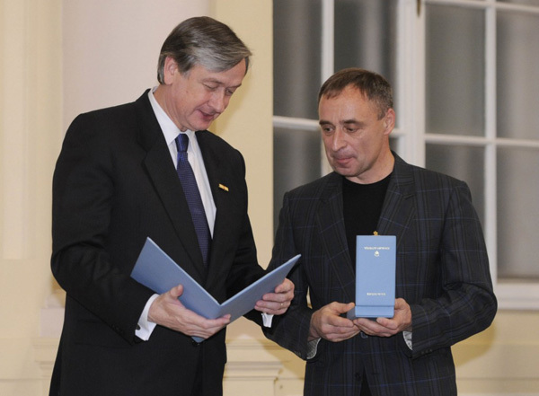 Silvo Karo receiving the Order of Merit from Slovenian President Dr. Danilo Tuerk, Bor Slana-Bobo