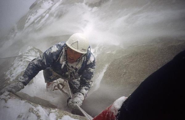Franček Knez enduring a Patagonian storm, on Fitz Roy in 1983, archive Francek Knez