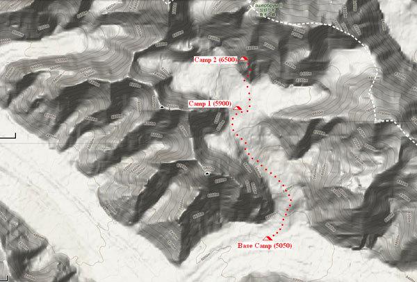 La mappa del Gasherbrum II con la via finora percorsa, arch. S. Moro, D. Urubko