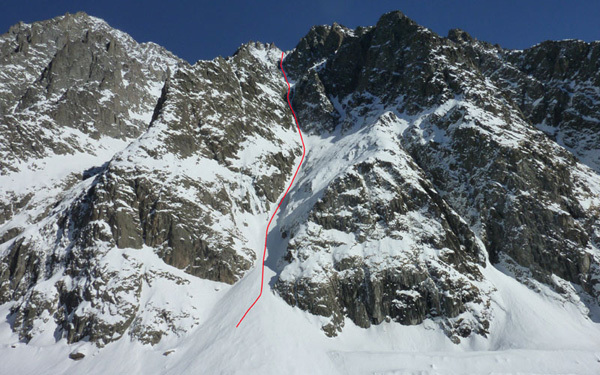 The SW couloir of Col du Brouillard, Davide Capozzi