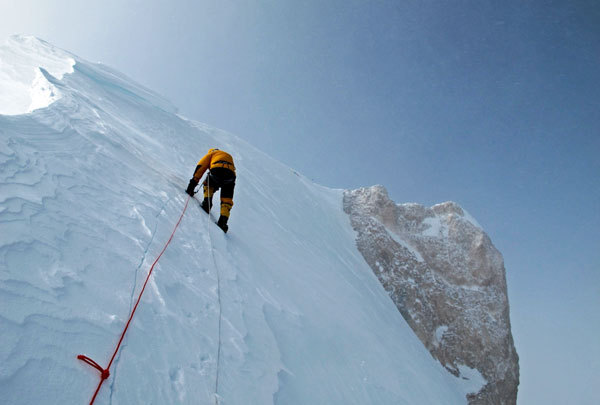 Simone Moro 100m below the summit of Gasherbrum II, and just a step away from the first winter ascent., arch. S. Moro