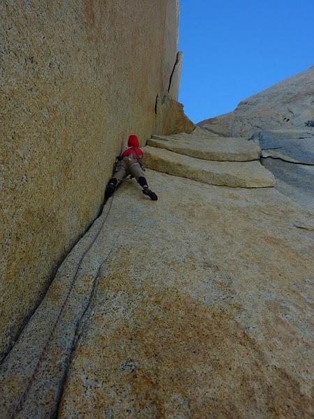 Josh Wharton on Pitch 4 of Coda on Aguja Desmochada, Fitz Roy Massif, Patagonia (V 5.11+ AO, Kauffman, Wharton 09-10/02/2011), Kauffman & Wharton