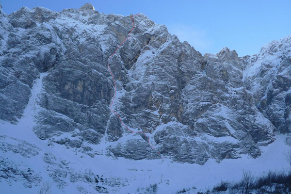 The North Face of Triglav (2864m) and the line of Sanjski Joža (VI/V,M7+, 1050m) climbed by Slovenian alpinists Andrej Grmovsek and Luka Krajnc., Andrej Grmovsek
