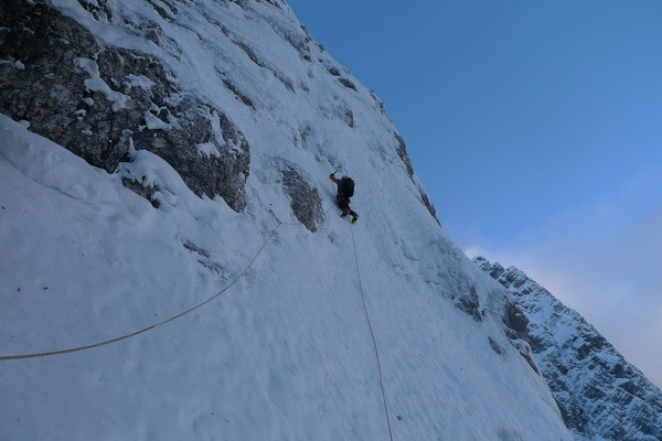 Andrej Grmovsek on day 1 on the first section of the route: three beautiful pitches of steep climbing on hard-packed snow., Luka Krajnc