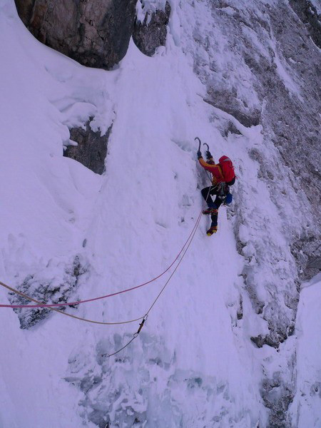 Luka Krajnc climbing the steep and delicate section low down on the route on day 1., Andrej Grmovsek