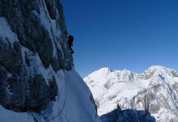 Climbing predominantly snow, with some mixed sections., Andrej Grmovsek