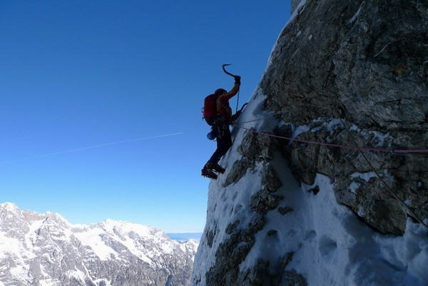 Climbing beneath the headwall., Andrej Grmovsek