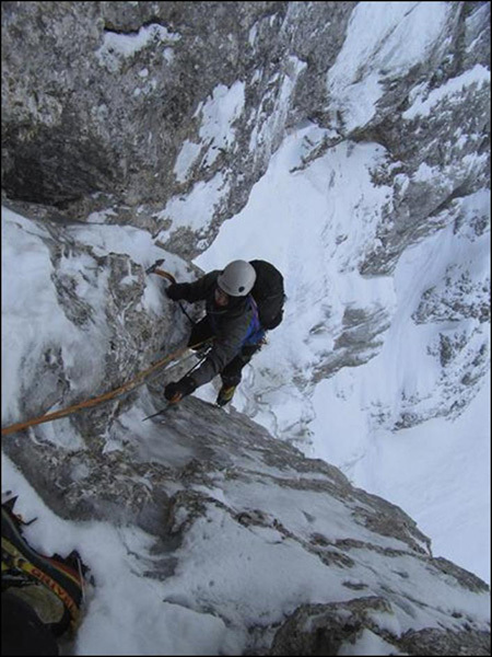Nejc and Rok Kurinčič on icy Planja North Face, Kurinčič brothers