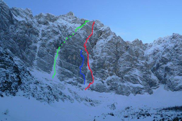 Triglav parete nord: Sanjski ozebnik (verde), Sanjski Joža (Grmovšek-Krajnc)(rosso), Metropolis (blu). , Andrej Grmovšek
