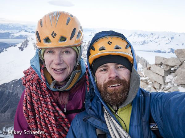 Michael Schaefer and Kate Rutherford on the summit of Fitz Roy having climbed their Washington Route, 02/2011, Mikey Schaefer