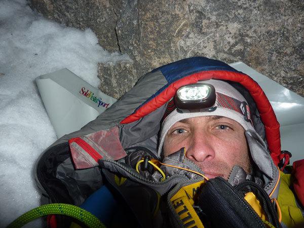 Fabio Valseschini al secondo bivacco - Via dei 5 di Valmadrera, Civetta, Dolomiti, F. Valseschini