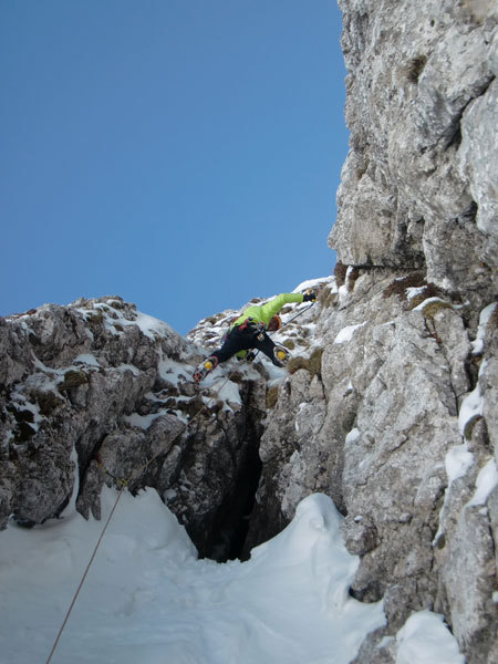 Barry Bona on pitch 2 of Cugi's Corner, NW Face Cimon di Palantina, Dolomites, arch. Bona - Favero