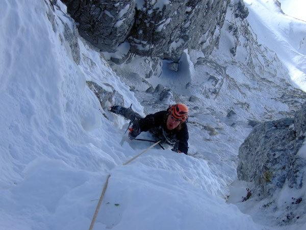 Simone Favero on the 6th pitch of Cugi's Corner, NW Face Cimon di Palantina, Dolomites, arch. Bona - Favero