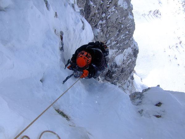 The final section of the 6th pitch of Cugi's Corner, NW Face Cimon di Palantina, Dolomites, arch. Bona - Favero