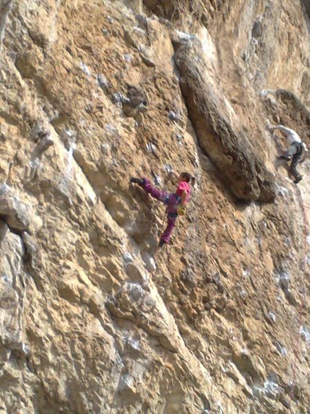 Eva Scroccaro redpointing her first 8a, Giljotina at Misja Pec, Slovenia, Sebastian Castenetto