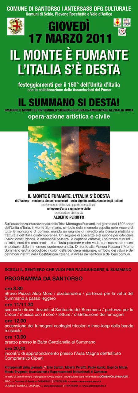 Giovedì 17 marzo 2011 sulla cima del Monte Summano (VI) si celebreranno Il 150° anniversario dell'Unità d'Italia con una grande fumogenata tricolore visibile dalla pianura a decine di chilometri di distanza., Planetmountain.com