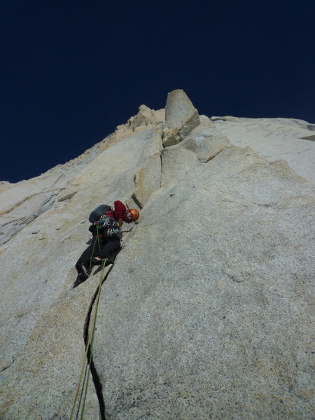 Sean Villanueva leading pitch 4, East Face of Fitz Roy, Patagonia., Favresse & Villanueva