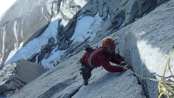 Sean Villanueva following pitch 13 of El Corazon up the East Face of Fitz Roy. The first technical crux., Favresse & Villanueva