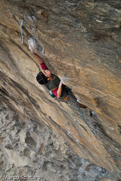 Tito Traversa climbing Criptonite 8b at Tetto di Sarre, Valle d'Aosta, Italy, Marco Spataro