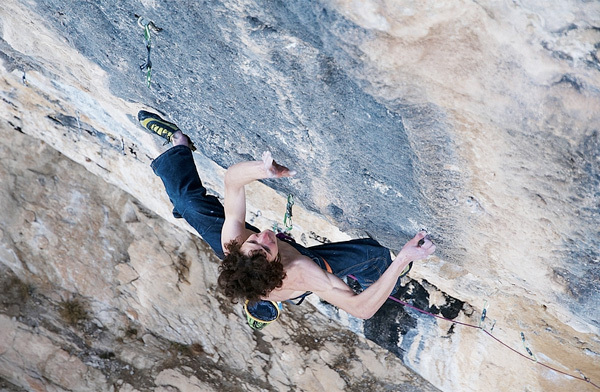 Adam Ondra making the first ascent of Chaxi Raxi 9b, Oliana, Spain, Vojtech Vrzba