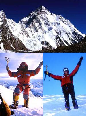 Sopra: uno dei simboli dell'alpinismo: il K2 visto dal Ghiacciaio di Concordia, Himalaya del Pakistan. Sotto: Abele Blanc e Marco Camandona in vetta al K2, Camandona & Blanc