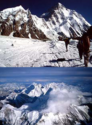 Sopra: Avvicinamento al K2, la seconda montagna della terra. In mezzo: Il Broad Peak (8047m) dalla cima del K2. Sotto: Ultimo campo a 8000m sulla spalla della via dello Sperone Abruzzi. Il paesaggio è mozzafiato come l'alpinismo in Himalaya., Camandona & Blanc