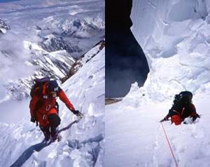 Sx: 8500m, a Marco Camandona mancano ancora ca 150m di dislivello per completare lo Sperone Abruzzi e arrivare in alla vetta del K2. Dx: Marco Camandona a quota 8400m, sotto il seracco pensile., Camandona & Blanc