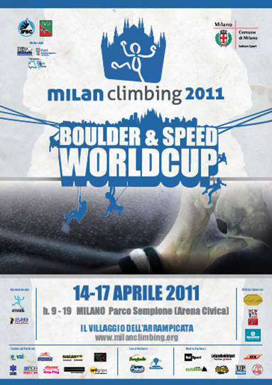 The first stage of the Bouldering and Speed World Cup 2011 will take place from Thursday 14 - Sunday 17 April in Milan. 166 athletes from all over the world will travel to the enchaning Sempione Park for these four spectacular climbing days., Planetmountain.com