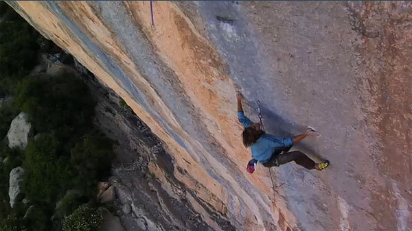 Chris Sharma making the first ascent of