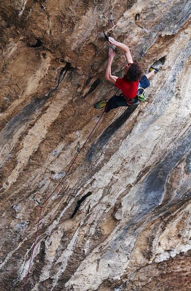 Adam Ondra climbing