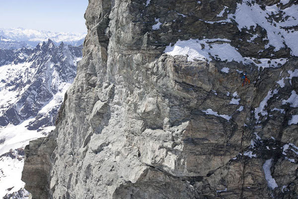 La nuova via aperta il solitaria da Hervé Barmasse sulla parete sud del Picco Muzio, Cervino, Damiano Levati