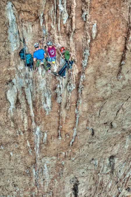 """Rolando Larcher, Luca Giupponi and Nicola Sartori on Pompa funebre - Monte Pellegrino - Parete dei Rotoli, Sicily, Giampaolo Calzà """"Trota"""""""