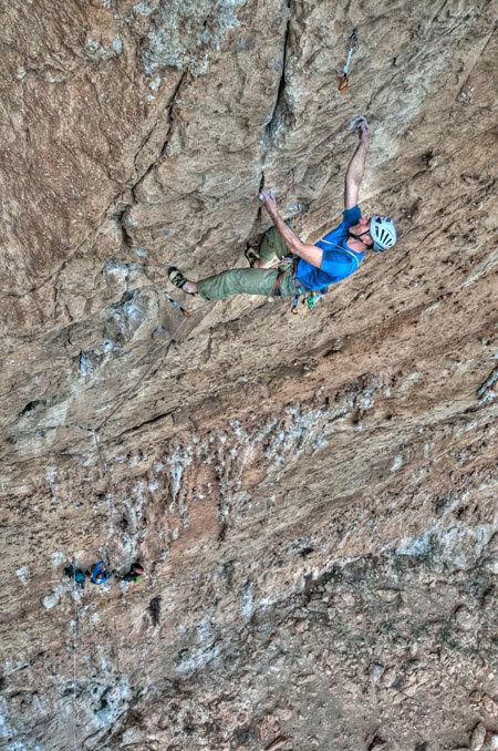 """Rolando Larcher climbing Pompa funebre - Monte Pellegrino - Parete dei Rotoli, Sicily, Giampaolo Calzà """"Trota"""""""