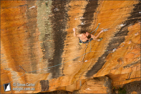 Lee Cossey on Sneaky Snake 33, Taipan Wall, Grampians, Australia, Simon Carter