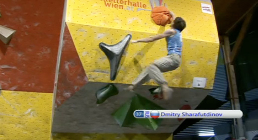 Bouldering World Cup Vienna - Dimitry Sharafutdinov, www.ifsc.tv
