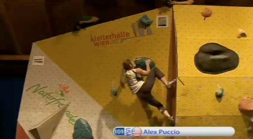 Bouldering World Cup Vienna - Alex Puccio, www.ifsc.tv