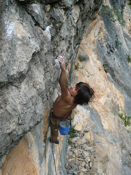 Pietro Biondi climbing Cerchietti, 7a, Luca Biondi